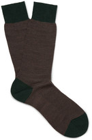 Pantherella Blenheim Birdseye Merino Wool-blend Socks - Green