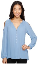 Karen Kane Cold Shoulder Button Up Top Women's Clothing