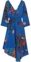 Diane von Furstenberg Floral-print Silk Crepe De Chine Wrap Dress - Blue