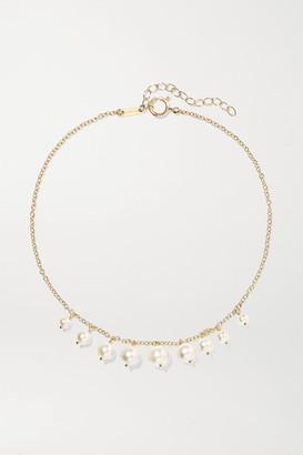 Mizuki 14-karat Gold Pearl Anklet - one size
