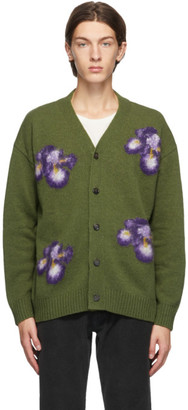 President's Green Intarsia Flower Cardigan