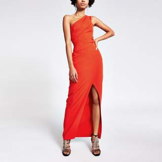 River Island Womens Red one shoulder wrap bodycon maxi dress