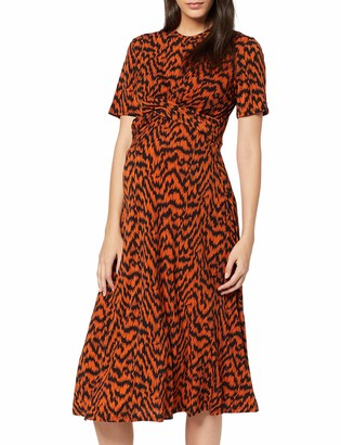 Dorothy Perkins Maternity Women's Print Short Sleeve WRAP Front MIDI Dress