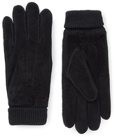Collezione Ribbed Cuff Suede Gloves With Thinsulatetm