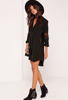 Missguided Lace Insert Shirt Dress Black