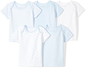 Moon and Back Baby Set of 5 Organic Lap-Neck Crew Short-Sleeve Tee Shirts