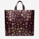 Bally Men's embossed calf leather tote bag in uva and gold
