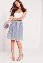 Missguided Mesh Full Skater Skirt Blue