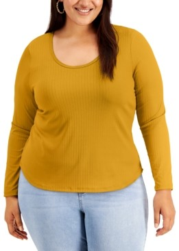 Full Circle Trends Trendy Plus Size Scoop-Neck Top
