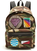 Saint Laurent City Multi Patch-appliqué Canvas Backpack