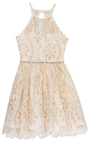 Rare Editions Gold & White Lace Halter Dress - Girls