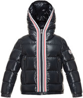 Moncler Maubic Hooded Striped-Trim Puffer Jacket, Navy, Size 8-14