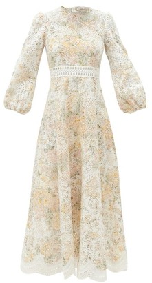 Zimmermann Amelie Floral-print Broderie-anglaise Linen Dress - White Multi