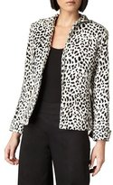 Neiman Marcus Leopard-Print Funnel-Neck Jacket, Black/White