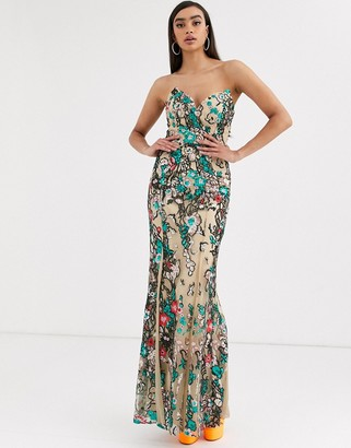 Bariano fishtail maxi gown in floral embellishment in taupe