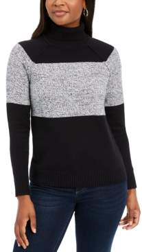 Karen Scott Petite Colorblock Cotton Turtleneck Sweater, Created for Macy's