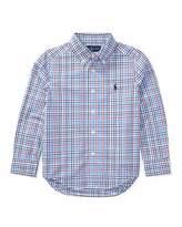 Ralph Lauren Poplin Plaid Button-Down Shirt, Blue/Red, Size 2-4