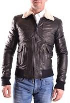 Daniele Alessandrini Men's Black Leather Outerwear Jacket.