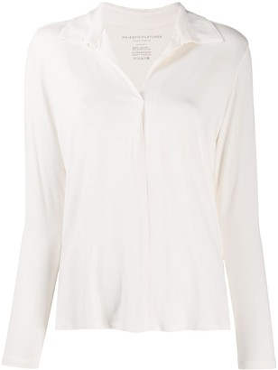 Majestic Filatures Pointed Collar Buttonless Blouse