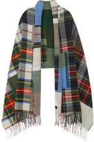 Holzweiler - Tableau Large Fringed Plaid Wool Scarf - Blue