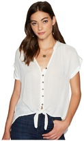 Lucky Brand Woven Tie Front Top Women's Clothing