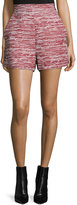 Proenza Schouler High-Waist Skinny-Stripe Shorts, Crimson Combo