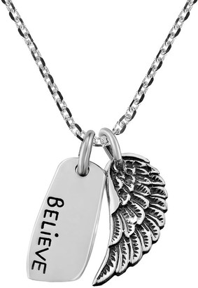 Aeravida Handmade Uplifting 'Believe' and Angel Wing Sterling Silver Pendant Necklace