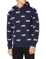 Scotch & Soda Men's Felpa Hoody with Logo All-Over Print Sweatshirt