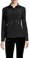 Badgley Mischka Women's Silk Lace Panel Blouse