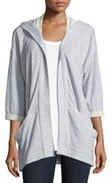 Eileen Fisher Hooded Heathered Organic Cotton Kimono Jacket, Plus Size