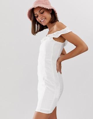 Bershka frilled detail bardot mini dress in white