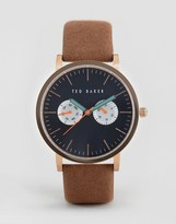 Ted Baker Brit Chronograph Leather Watch In Tan