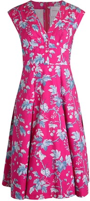 Carolina Herrera Floral Button Flare Dress