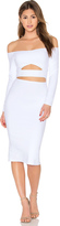 Donna Mizani Long Sleeve Marilyn Cut Out Midi Dress