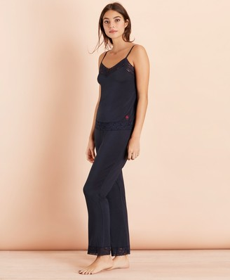 Brooks Brothers Lace-Trimmed Jersey Camisole Pajama Set