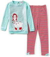 Rare Editions Little Girls 2T-6X Christmas Llama-Appliqued Top & Striped Leggings Set