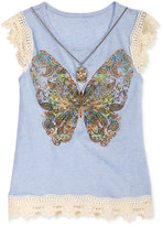 Beautees Crochet Lace & Necklace Graphic-Print Top, Big Girls (7-16)