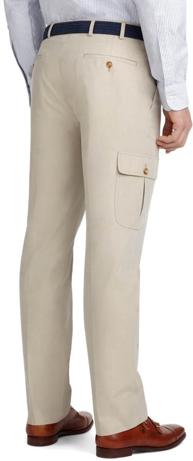 Brooks Brothers Milano Fit Plain-Front Cotton Cargo Pants