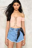 Nasty Gal Sweet Valley Off-the-Shoulder Lace-Up Crop Top