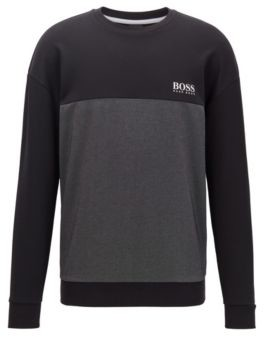 HUGO BOSS Color Block Loungewear Sweatshirt With Heat Seal Logo - Dark Blue