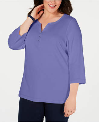Karen Scott Plus Size Cotton Split-Neck Top