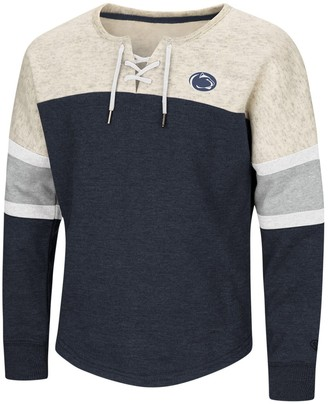 Colosseum Girls Youth Navy Penn State Nittany Lions The Ice Box Oversized Lace-Up Pullover Sweatshirt