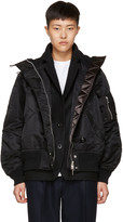 Sacai Black Ruched Ma-1 Bomber Jacket