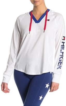 Tommy Hilfiger V-Neck Hooded Long Sleeve Top