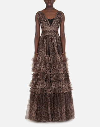 Dolce & Gabbana Long Tulle Dress With Leopard Print
