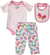 Absorba Butterly Pants Set w/Bib (Baby) - Pink Print-0-3 Months