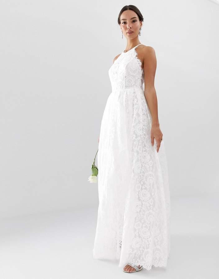 Edition Edition Lace Halter Neck Maxi Wedding Dress