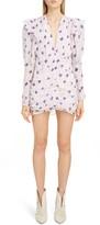 Isabel Marant Floral Ruffle Trim Long Sleeve Minidress