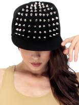 Simplicity Rock Hat Baseball Cap, 2170_Black Half Crown Silver Spikes Rivets
