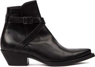 Saint Laurent Black Leather Wyatt Ankle Boots